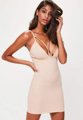Missguided Nude Strappy Scuba Bust Cup Bodycon Dress