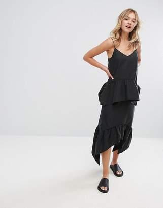 Monki Asymmetric Hem Pleated Midi Skirt