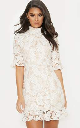 PrettyLittleThing Nude Lace Frill Sleeve High Neck Bodycon Dress