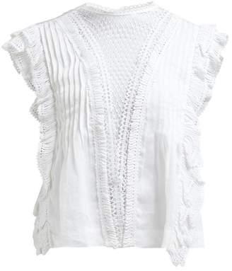 Isabel Marant Roya Crochet Insert Voile Blouse - Womens - White