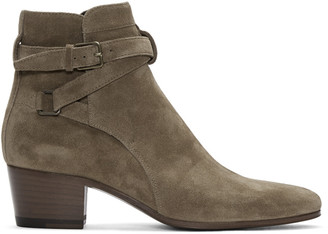 Saint Laurent Brown Suede Blake Jodhpur Boots $895 thestylecure.com