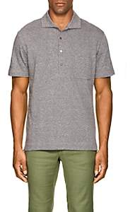 Luciano Barbera Men's Cotton-Linen Piqué Polo Shirt - Brown
