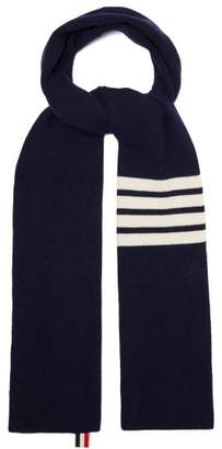 Thom Browne Stripe Detail Ribbed Knit Cashmere Scarf - Mens - Navy
