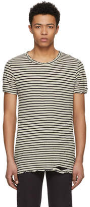 Ksubi Black and Off-White Striped Sinister T-Shirt