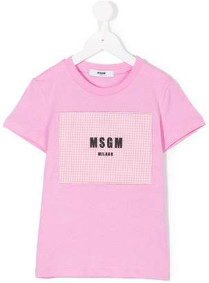 MSGM checked logo patch T-shirt