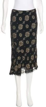 Ermanno Scervino Pleated Metallic Silk Skirt