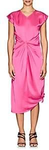 Helmut Lang Women's Twist-Front Cotton Satin Midi-Dress - Pink