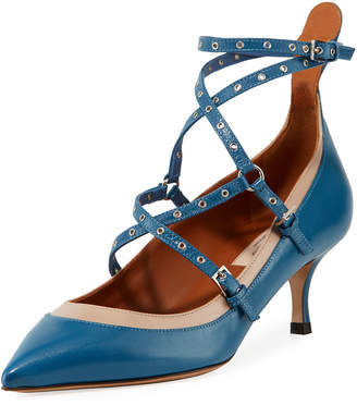 Valentino Leather Pumps with Grommet Straps