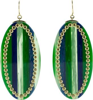 Mark Davis Green And Blue Bakelite Earrings