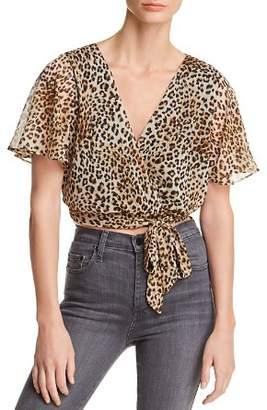 Aqua Leopard Print Faux-Wrap Cropped Top - 100% Exclusive