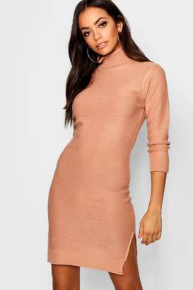 boohoo Rib Knit Roll Neck Jumper Dress