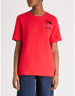 Izzue Common People embroidered cotton-jersey T-shirt