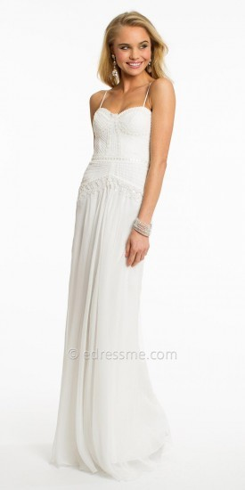 No Strapless White Embellished Lace Evening Dress