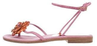 Chanel Camellia Suede Sandals
