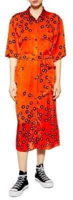 Topshop Poppy Print Utility Dress