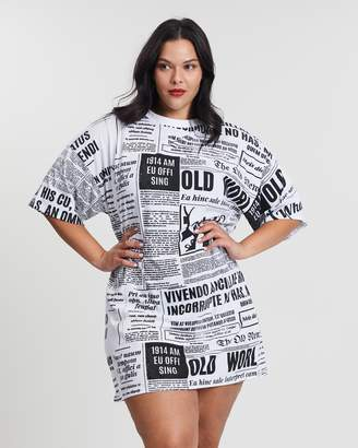 Newspaper Oversized Tee Dress