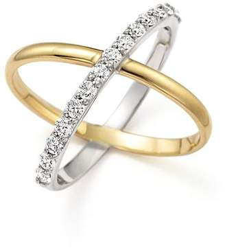 """KC Designs Diamond """"X"""" Ring in 14K Yellow and White Gold"""