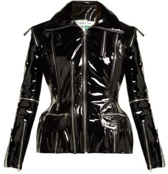 Richard Quinn - Zip Embellished Patent Leather Jacket - Womens - Black