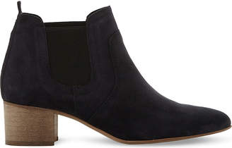 Dune Black Ladies Navy Elegant Perin Classic Suede Ankle Boots