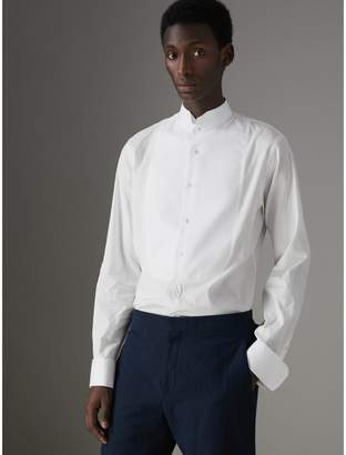 Burberry Modern Fit Panelled Bib Cotton Silk Evening Shirt , Size: 16, White