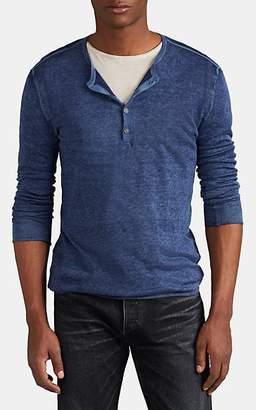 John Varvatos Men's Silk-Cashmere Henley Sweater - Blue