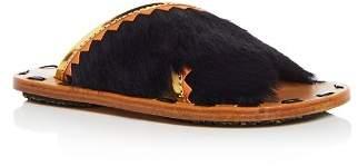 Marni Women's Samsy Calf Hair & Leather Crisscross Slide Sandals