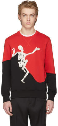 Alexander McQueen Red and Black Dancing Skeleton Sweatshirt
