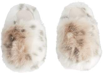 Pottery Barn Teen Faux Fur Slippers, Large, Snow Leopard