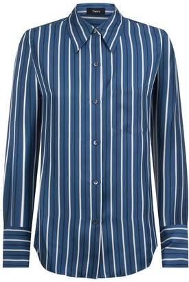 Theory Silk Satin Striped Shirt