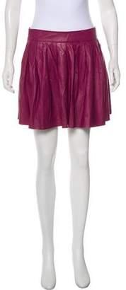 Alice + Olivia Flared Leather Mini Skirt