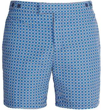 Frescobol Carioca - Tailored Angra Print Swim Shorts - Mens - Navy Multi