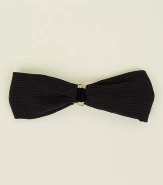 New Look Black Ribbed Ring Front Headband
