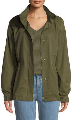 Eileen Fisher Organic Cotton-Nylon Utility Jacket with Hidden Hood