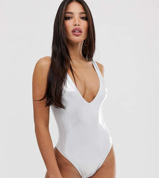 Asos Tall DESIGN tall silver wetlook metallic plunge swimsuit