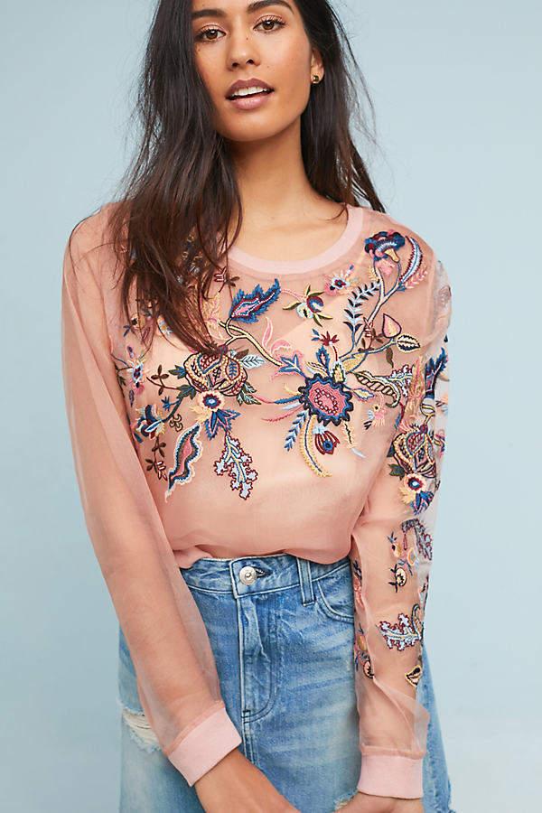 Sweatshirt aus Seiden-Organza - Pink
