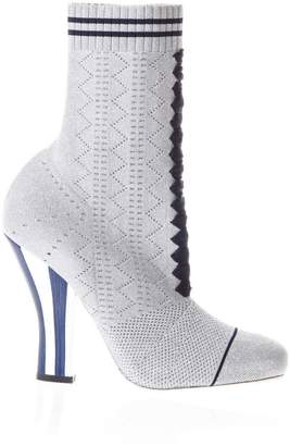 Fendi 6780grey Metal Fabric Ankle Boots