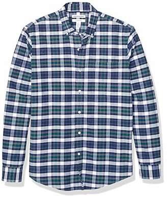 Amazon Essentials Men's Slim-Fit Plaid Long-Sleeve Pocket Oxford Shirt