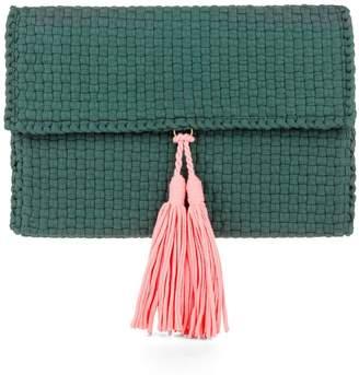 Sami - Emerald Hanan Clutch With Pink Tassel