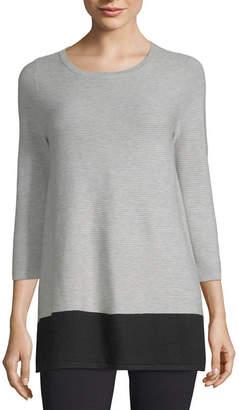 Liz Claiborne 3/4 Sleeve Boat Neck Pullover Sweater
