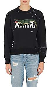 Amiri Women's Alligator-Embroidered Cotton Sweatshirt - Black