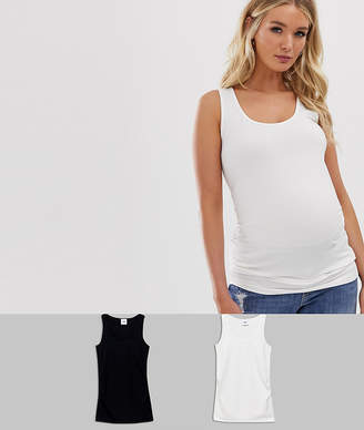 Mama Licious Mama.Licious Mamalicious maternity 2 pack basic singlet in organic cotton