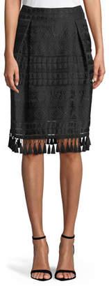 Sachin + Babi Beyoglu Tassel-Trim Stripe Skirt