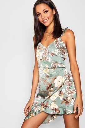 boohoo Satin Ruffle Mini Dress