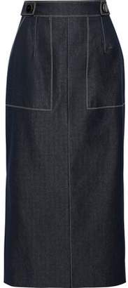 Carolina Herrera Button-embellished Denim Midi Pencil Skirt