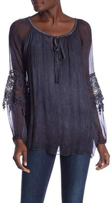 Tempo Paris Long Sleeve Puckered Blouse