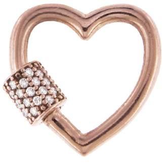 Marla Aaron Baby Stoned Diamond Heart Lock - Rose Gold