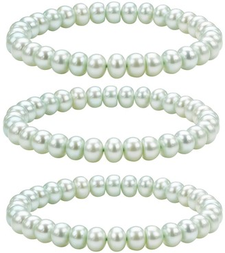 Honora Cultured Pearl Set of 3 7.0mm - 8.0mm St retch Bracelet