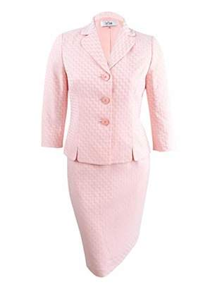 Le Suit Women's Chevron Novelty 3 Bttn Skirt Suit