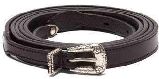 Saint Laurent Double Wrap Skinny Leather Belt - Womens - Black