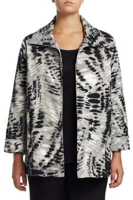 Caroline Rose Plus Abstract Animal Print Jacket
